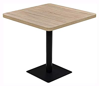 """K&A Company Kitchen & Dining Room Table, Bistro Table MDF and Steel Square 31.5""""x31.5""""x29.5"""" Oak Color"""