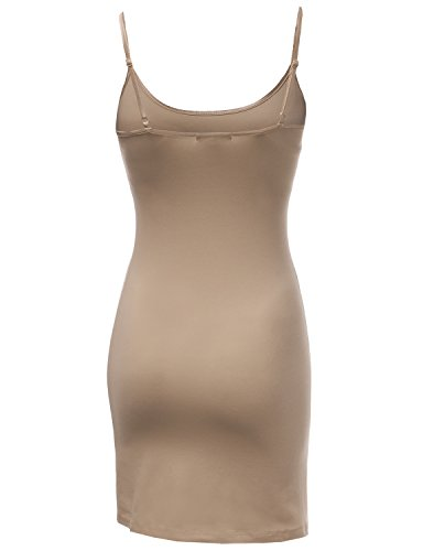 Awesome21 Sangle Spaghetti Solide Ajustement Slim Femme Robes Slip Cami Awttk0255 Beige