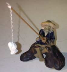 Bonsai Boys Ceramic Figurine (Bonsai Boy's Ceramic Figurine Fisherman Sitting On A Log Small Size)