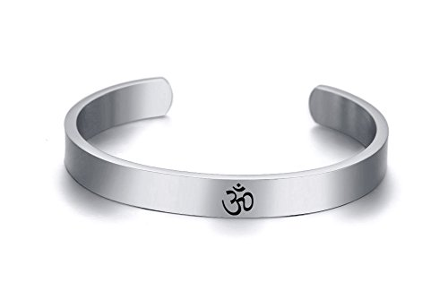 Mealguet Jewelry Unisex Stainless Steel Namaste Aum Ohm Om Cuff Bangle Bracelet for Men Women,Ideal Meditation Gift,Silver