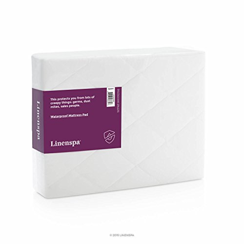 LINENSPA Hypoallergenic Waterproof Mattress Pad with Breathable Quilted Microfiber Cover - Queen (Fill Hypoallergenic Mattress Pad)