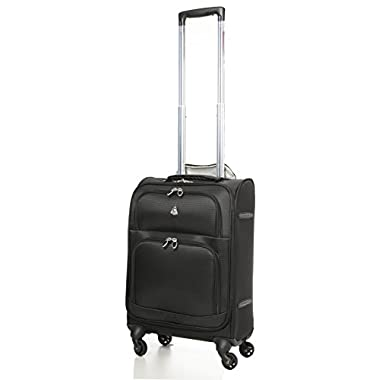 Aerolite Lightweight Upright Travel Trolley Bags Carry On Luggage Suitcase, 4 Wheel Spinner, 22x14x9  Approved for Delta, South West, American Airlines, Black.