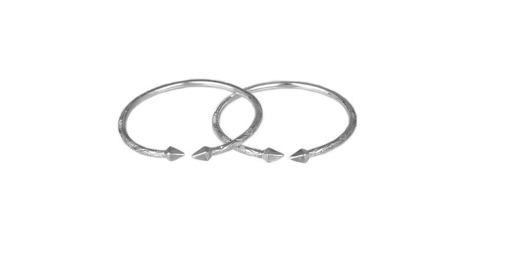 Better Jewelry Pyramid .925 Sterling Silver West Indian Bangles (Pair) (MADE IN USA)