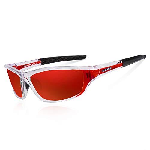 Rouge Cristal hommes course de conduite lunettes cyclisme Queshark Lunettes pour pêche femmes polarisées de soleil UV400 X67ZwFqa