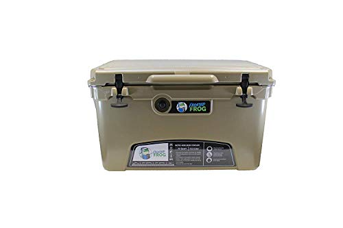 (Frosted Frog Tan 75 Quart Ice Chest Heavy Duty High Performance Roto-Molded Commercial Grade Insulated Cooler)