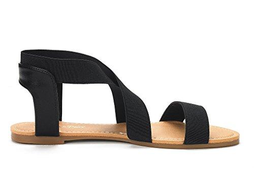 Paires De Rêve Femmes Elatica Élastique Cheville Sangle Sandales Plates Noir