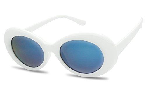 SunglassUP White Clout Goggles Retro Iconic Kurt Cobain Sunglasse w/ Blue Reflective Mirrored Lens (White   Blue - Clout Goggles 1