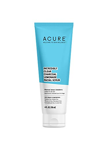 ACURE Incredibly Clear Charcoal Lemonade Facial Scrub | 100% Vegan | For Oily to Normal & Acne Prone Skin | Charcoal, Lemon & Blueberry - Exfoliates & Detoxifies | 4 Fl Oz (Packaging May Vary)