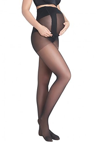 (Mothers Essentials 15 Denier Women's Maternity Light support Pantyhose (L/XL, Black))