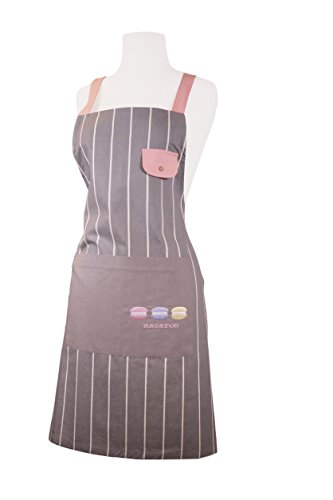 Home Bene 100% Cotton Macaron, Cute X-back Kitchen Apron Women, Cooking Apron White Stripes, Adjustable Length, Waist Ties, One Front Pocket, Cooking, Baking, Barbecuing, - Tie Apron