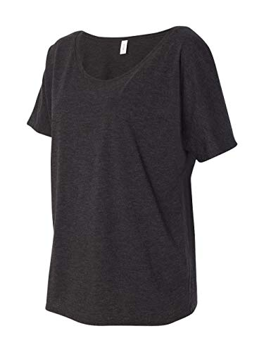 Bella 8816 Womens Slouchy Tee - Charcoal-Black Triblend, Extra Large