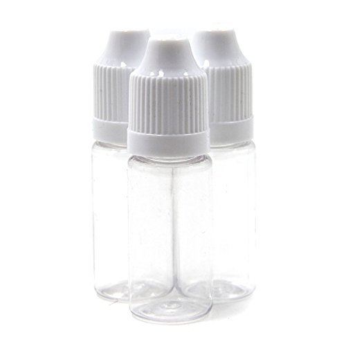 (20) 10ml Pet Plastic Needle Dropper Bottles with Child Proof Cap for Ejuice, Paint, Light Oils, Tattoo, and More (Aspire E Juice)