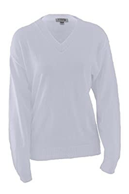 Edwards Garment Stylish V-Neck Jersey Stitch Sweater, White, Large