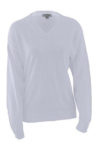 Edwards Garment Stylish V-Neck Jersey Stitch Sweater, White,