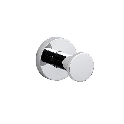 MAYKKE Nob Hill Robe and Towel Hook | Modern Wall Mount Solid Brass Towel Holder for Bathroom, Shower, Kitchen, Bedroom | Polished Chrome, AHA1000101