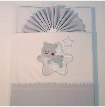 10XDIEZ Juego de sábanas Cuna Franela Star Blanco/Gris - Medidas sabanas bebé - Minicuna (50x80cm)
