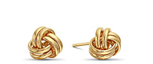 Womens 14k Yellow Gold Love Knot Stud Earrings with Screw-backs -