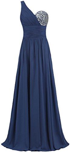 Fourmis Mousseline De Soie Femmes Une Robes De Bal Épaule Longues Robes De Soirée De La Marine