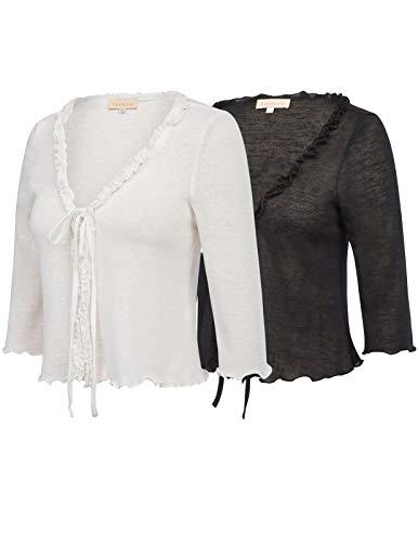 Kate Kasin 2 Pack Open Front Knit Cropped Bolero Shrug Black White Size S ZH57-1