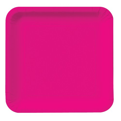 Creative Converting Touch of Color 18 Count Square Paper Dinner Plates, Hot Magenta