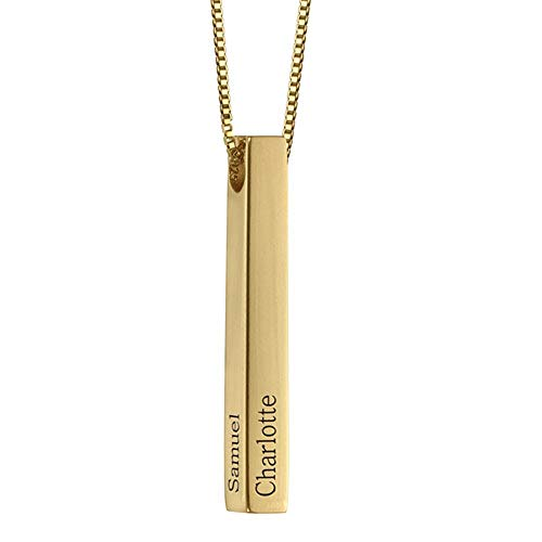 Funcok Personalized Name Necklace 3D Bar Gold Custom Made Jewelry Gifts Pendants for ()
