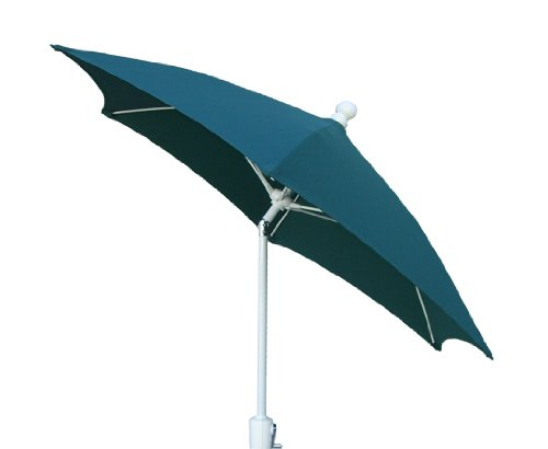 - FiberBuilt Umbrellas Patio Umbrella with Push-Button Tilt, 7.5 Foot Forest Green Canopy and White Pole