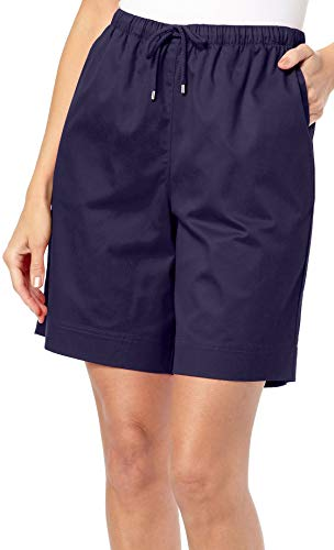 Coral Bay Womens The Everyday Twill Drawstring Shorts Medium Eclipse - Drawstring Coral