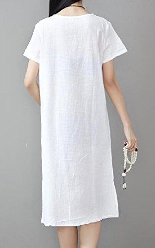 Print Linen Short Cotton Dress Loose Midi Vintage Sleeve White Ink Women's Casual Jaycargogo tzqw1YP