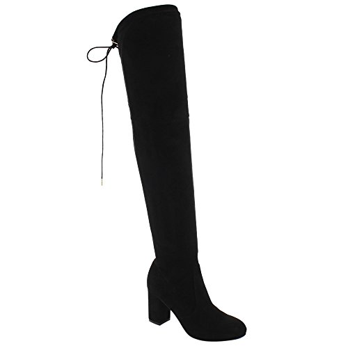BESTON FD19 Women's Over The Knee Drawstring Block Heel Boots Full Size Small, Color:Black, Size:8