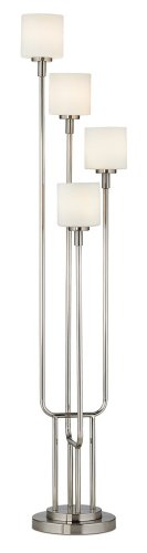 Brushed Steel and Frosted Glass Light Tree Floor Lamp ()