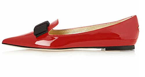 (Eldof Women's Ballet Comfort Light Patent Leather Shoe Flat Red US7)