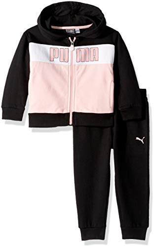 Fleece Hoodie Pants (PUMA Toddler Girls' Fleece Hoodie Set, Black, 3T)