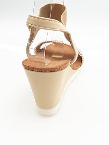 Piccoli Elegante Zeppa Alta Sandali monelli 40 Donna Beige TG T4OTqr