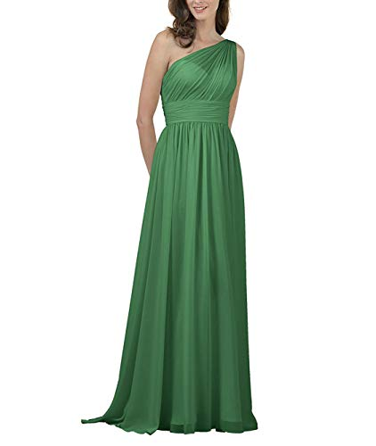 Meaningful Chiffon Long Prom Dress One Shoulder Evening Party Gown Maxi for Women Size 18plus Emerald