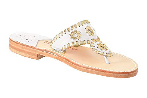 f1dfadd81768d Palm Beach Women s Leather Handcrafted Rolled Padded Toe Grip Classic  Sandals - White Gold