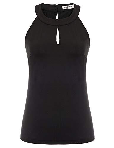 GRACE KARIN Women Cut Out Front Tank Top Sleeveless Blouse Vest Size L,Black