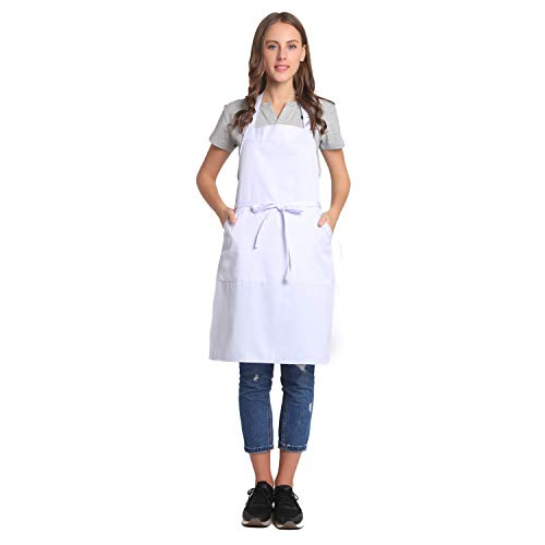 BIGHAS Adjustable Bib Apron with Pocket Extra Long Ties for Women, Men, Chef, Kitchen, Home, Restaurant, Cafe, Cooking, Baking, Gardening etc 13 Colors (White)