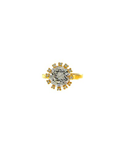 Anuradha Art Gold Finish Stylish Wonderful Studded Single Stone Designer Finger Ring For ()
