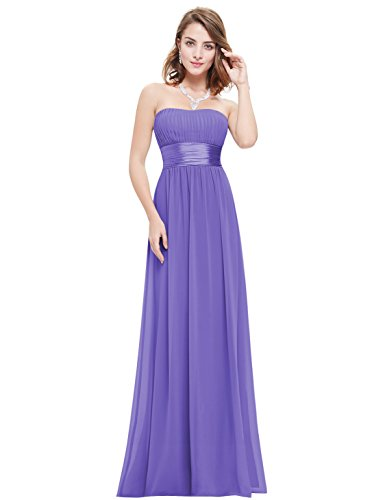 Ever-Pretty Womens Strapless Floor Length Chiffon Empire Waist Prom Dress 12 US (Chiffon Empire Waist Prom Dress)