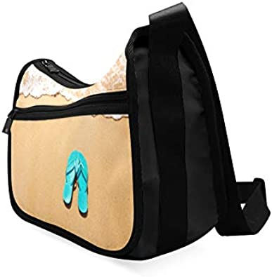 Beach Flip Flops In Rainbow Color Messenger Bag Crossbody Bag Large Durable Shoulder School Or Business Bag Oxford Fabric For Mens Womens