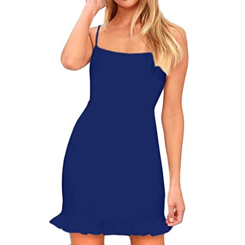 Women Sleeveless Spaghetti Shoulder Strap Skinny Slim Evening Party Tank Top Mini Dress Blue