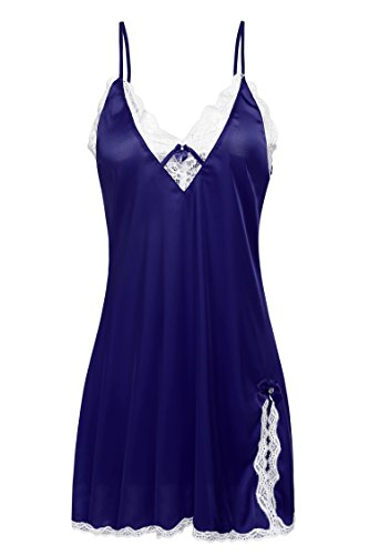 Ekouaer Women's Sexy Lace Slip Dresses Nightwear Nightgowns Nighty, Purple, XS