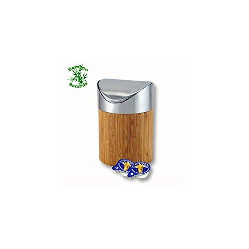 Bambus Tischabfallbehälter 16,5 cm Höhe Tischabfalleimer Tisch Abfalleimer Schwingdeckel Tischabfall Behälter Restetopf
