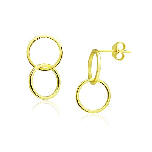 Sterling Silver Infinity Circle Hoop Loops Dangle Stud Earrings Lightweight Hypoallergenic Yellow Gold Flashed Finish
