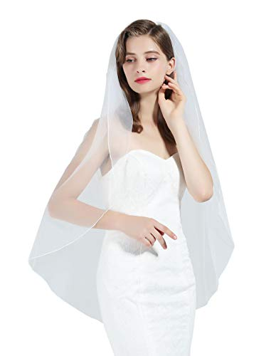 - 1 Tier Wedding Bridal Veil Pencil Edge Ivory Knee Length