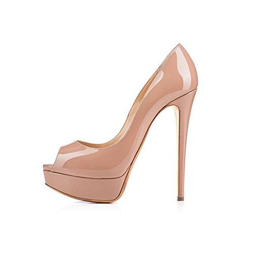 MIUINCY Women's High Heel Peep Toe Platform Stiletto Slip on Dress Pump Shoes for Wedding Party Nude