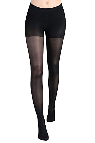 +MD Women's Sheer Compression Pantyhose Graduated 20-30 mmHg Swelling Varicose Veins Therapy Medical Support Stockings BlackL