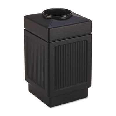 Safco Products - Safco - Canmeleon Top-Open Receptacle, Square, Polyethylene, 38 gal, Textured Black - Sold As 1 Each - Adds beauty and serviceability to