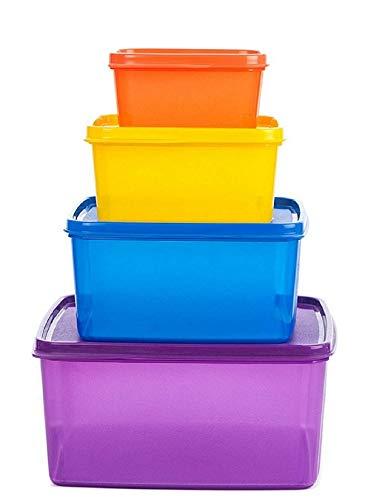 Signoraware Fresh Tab Plastic Storage container, Set of 4, (2500ML, 1200 ML, 500 ML, 160 ML), Multicolor