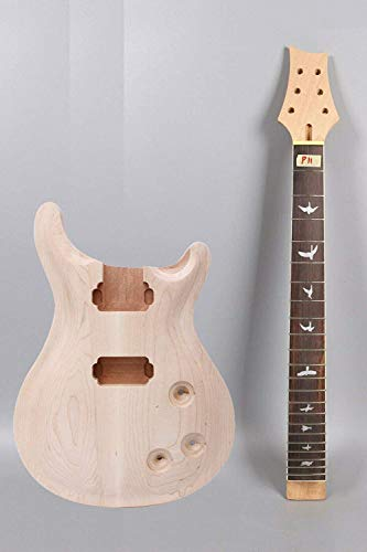 1set guitar kit Unfinished Guitar neck Body 22fret 24.75 inch Bird inlay set in (25.5inch)